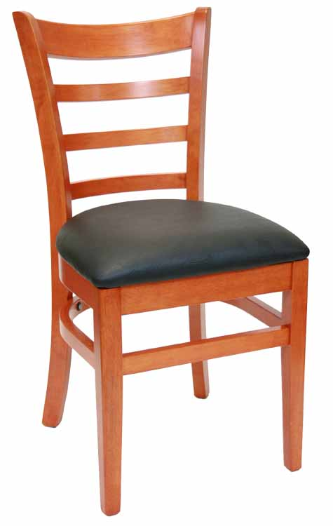 Ladderback Cherry Wood Chair w Black Vinyl Seat Sku # WC-025