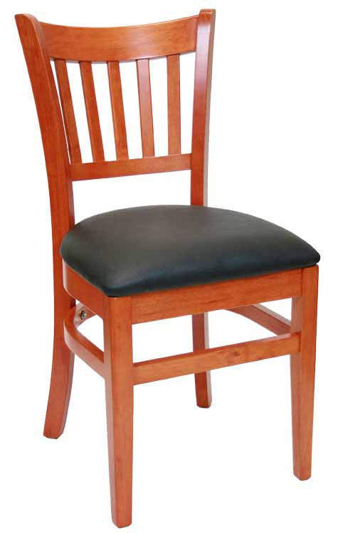 Vertical Back Cherry Wood Chair Black Vinyl Seat Sku # WC-037
