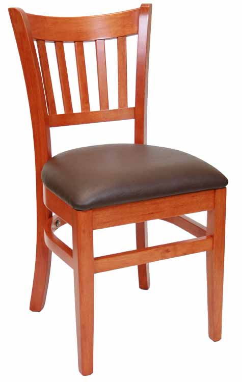 Vertical Back Cherry Wood Chair Buckskin Vinyl Sku # WC-0371
