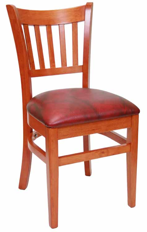 Vertical Back Cherry Wood Frame Burgundy Vinyl Seat Sku # WC-038