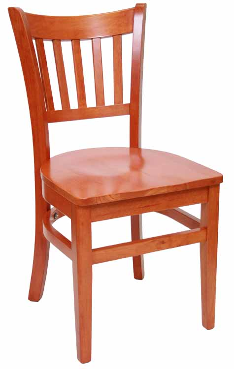 Vertical Back Cherry Wood Chair w Wood Seat Sku # WC-039