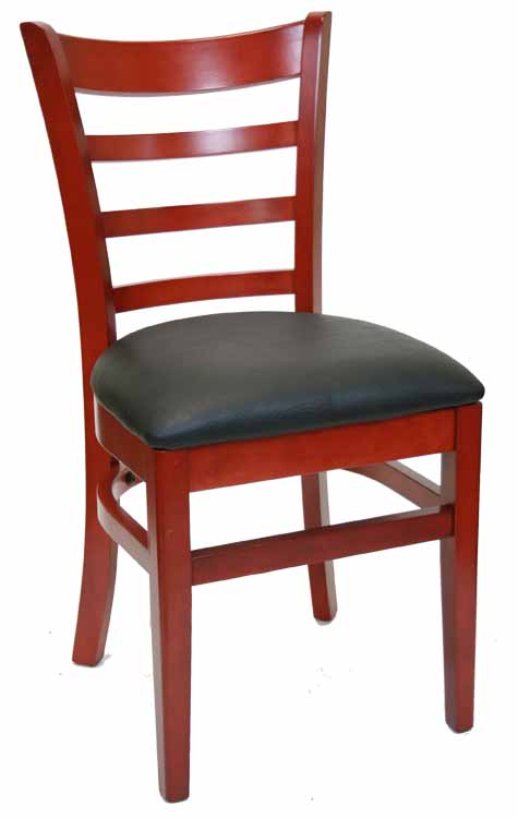 Ladderback Mahogany Wood Chair w Black Vinyl Seat Sku # WC-028