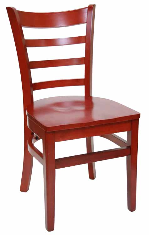 Ladderback Mahogany Wood Chair w Wood Seat Sku # WC-030
