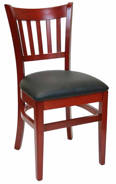 Vertical Back Mahogany Wood Chair Black Vinyl Seat Sku# WC-040