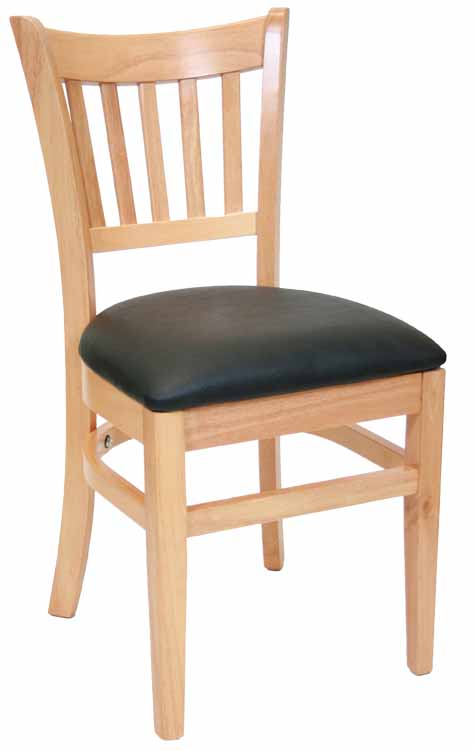 Vartical Back Natural Wood Chair Black Vinyl Seat Sku # WC-043