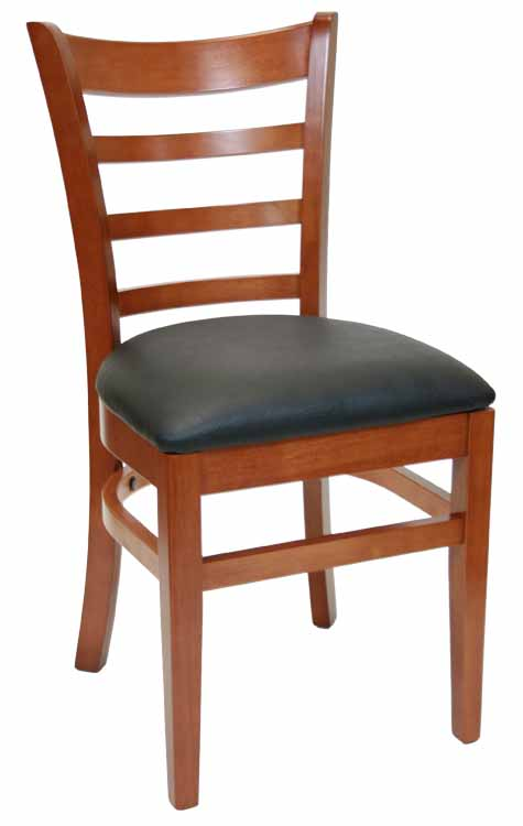 Ladderback Walnut Wood Chair w Black Vinyl Seat Sku # WC-034