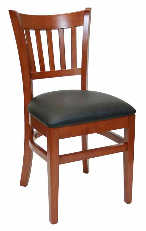 Vertical Back Walnut Wood Chair Black Vinyl Seat Sku # WC-046