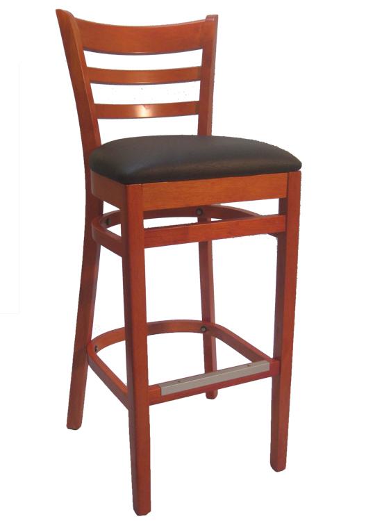 Ladderback Cherry Wood Bar Stool Black Vinyl Seat Sku Wbs 025