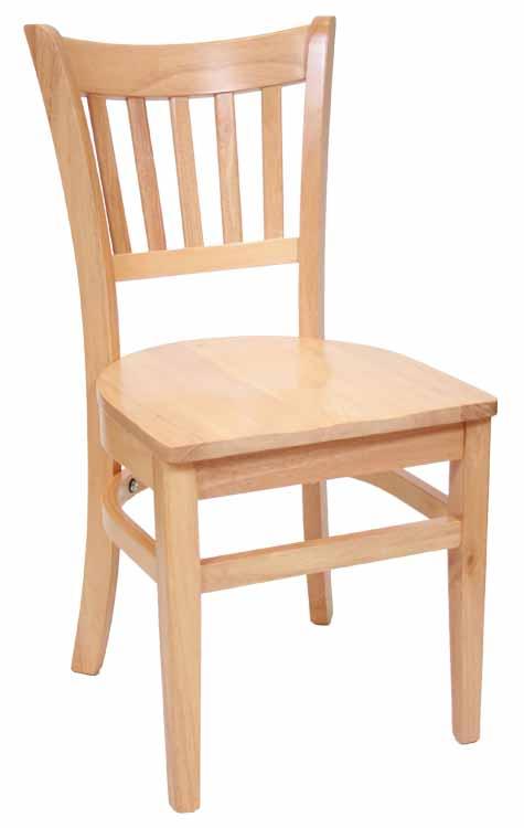 Vertical Back Natural Wood Chair W Wood Seat Sku # WC 045
